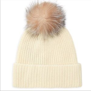 Cashmere Beanie with Fox Fur Pom Pom